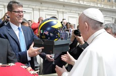 Jim Harbaugh met the Pope and gave him a pair of Nike Air Jordans