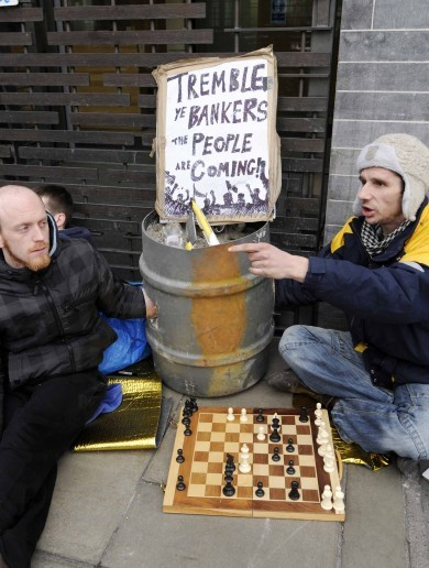 Occupy Finance: Sit-down protest against bondholder payout