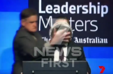 Qantas Irish boss gets hit in the face with pie during interview