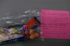 An Irish couple gave out this lovely package to passengers when flying with their baby