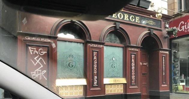Dublin gay bar The George vandalised with homophobic, Nazi graffiti