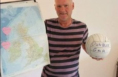 A man found a football belonging to a Donegal Gaelic team washed up on a beach in Scotland