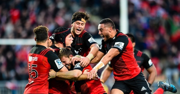 A monster 83rd minute drop-goal gave Crusaders a dramatic win over the Highlanders this morning