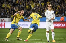 Watch: Dramatic late goal from the half-way line sees Sweden upset France
