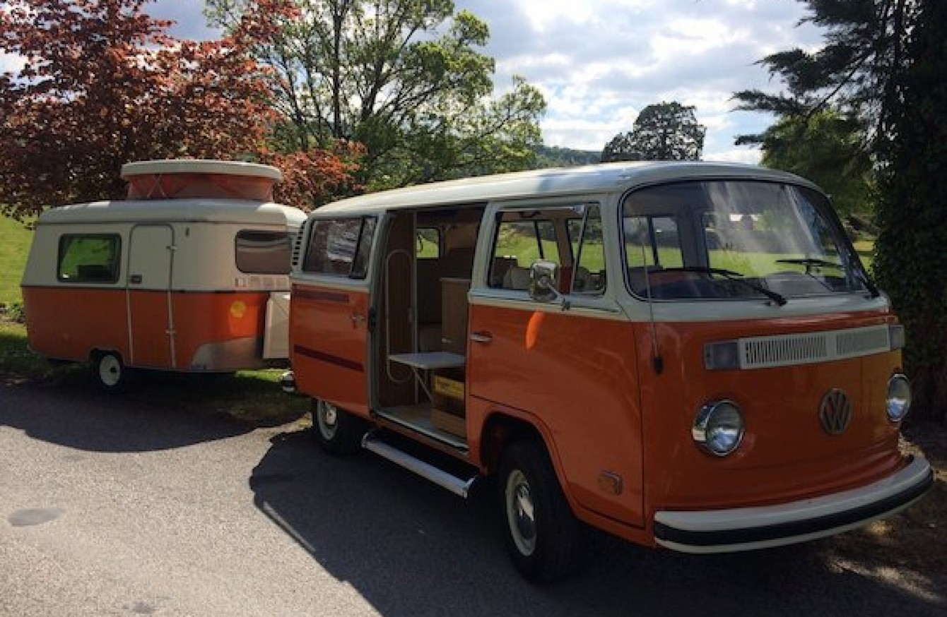 this iconic vw t2 camper comes with its own mini caravan. Black Bedroom Furniture Sets. Home Design Ideas