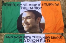 A group of Irish friends at Glastonbury made the best Father Ted flags for Radiohead last night