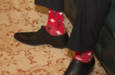 Leo Varadkar wore a pair of novelty maple leaf socks when meeting Justin Trudeau