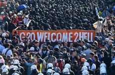 'Welcome to hell': Police turn on water cannon as thousands protest at G20 summit