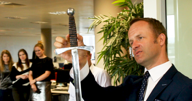 This sword swallower dropped by to give us a sneak preview of the City Spectacular