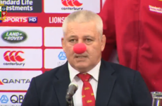 Warren Gatland showed up to his post-match press conference wearing a clown nose