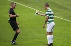 Bottle thrown at Celtic's Leigh Griffiths, referee reacts by booking him