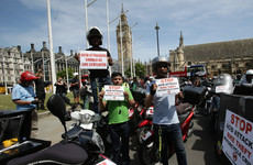 Delivery drivers bring Westminster to a standstill in protest at rising acid attacks