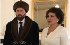 Nicolas Cage dressed for the occasion when he met the first lady of Kazakhstan and it's already a meme
