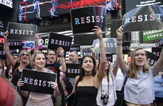 Hundreds protest in New York against ban on transgender troops