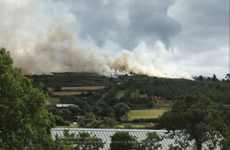 Dublin Fire Brigade fighting large gorse fire near the foothills of the Wicklow Mountains