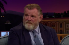 Brendan Gleeson told James Corden that he embarrasses his kids by 'getting up in the morning'