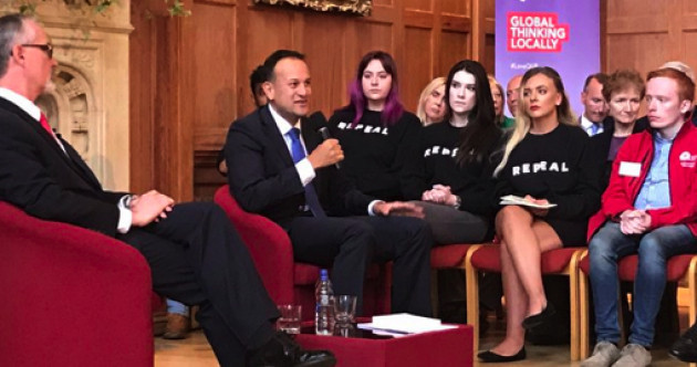 With young people in 'Repeal' jumpers beside him, Leo Varadkar was asked about the Eighth in Belfast today
