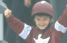 A young fan dressed up as his favourite jockey at the Galway Races and had the best reaction when he won