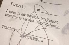 A bar shamed Kendall Jenner for not leaving a tip by posting her receipt on Instagram