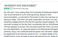 A Sligo restaurant had the best response after a TripAdvisor review questioned their honesty