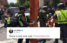 Joe Biden's one-line tweet summed up the criticism of Donald Trump's response to the Virginia attack