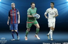 Buffon sandwiched between Ronaldo and Messi on three-man Uefa Player of the Year shortlist