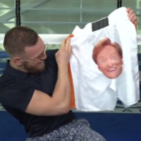 Conor McGregor refused to try on a ridiculous pair of shorts that Conan O'Brien got him for the upcoming fight