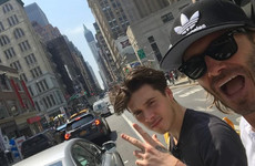 David Beckham is cruising around New York with Brooklyn for his first week at college... it's the Dredge