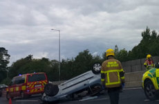 Traffic on M50 northbound after Sandyford at a standstill due to overturned car