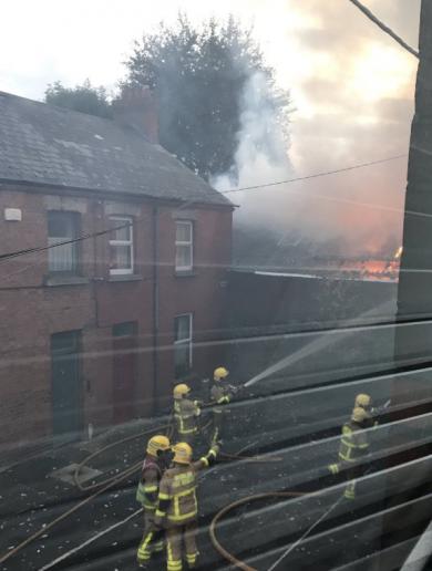 Five units of Dublin Fire Brigade extinguish blaze at Harold's Cross warehouse