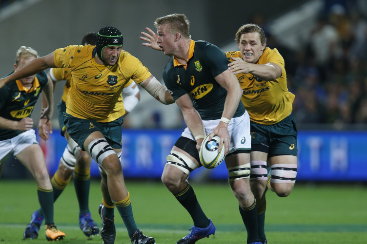 Step du Toit looks to pass the ball during their match against Australia in the Rugby Championship.