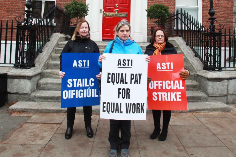 ASTI members on strike last year.