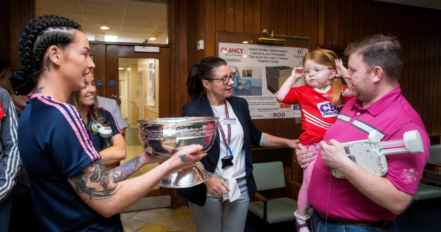 Cork's All-Ireland heroes bring the O'Duffy Cup to Crumlin Children's Hospital
