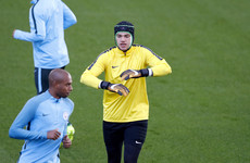 Ederson returns to training wearing protective helmet, and could play in CL tomorrow