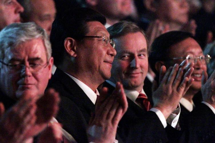 Xi Jinping watching Riverdance in Dublin last night with Taoiseach Enda Kenny