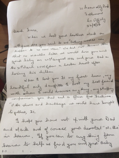 'I hope you are in the light now Fi': Letter written by late mother of missing Fiona Pender