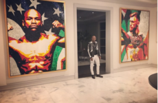 Floyd Mayweather's just put an 8ft portrait of McGregor up in his gaff