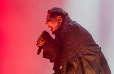 Marilyn Manson hospitalised after stage prop falls on him during show