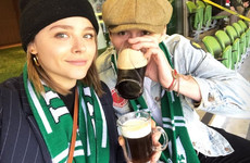 Chloe Moretz and Brooklyn Beckham were cheering on Leinster at the Aviva yesterday