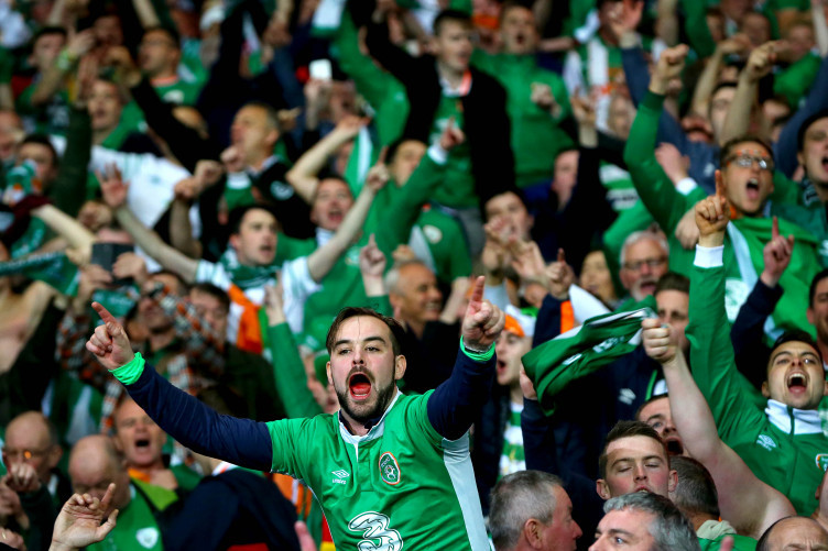 Ireland fans celebrating after Monday's win against Wales.