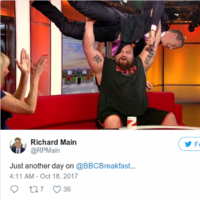 The world's strongest man made an appearance on BBC Breakfast and he did not disappoint