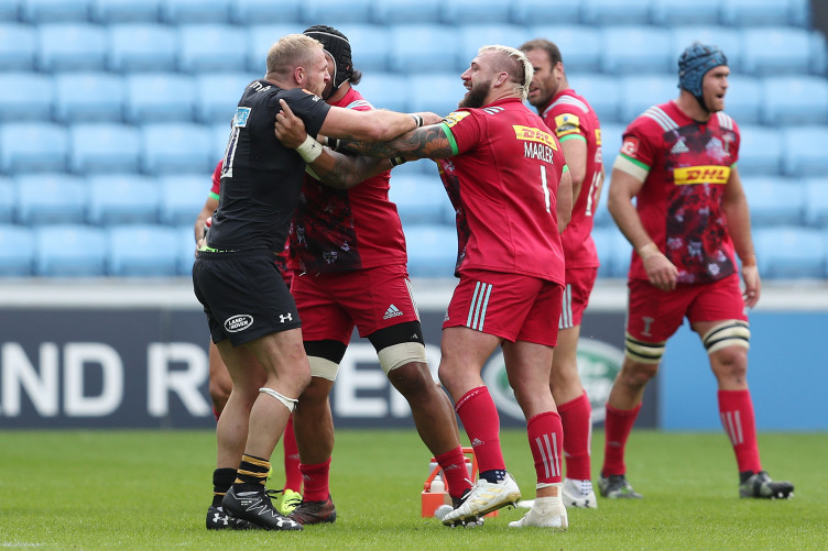 Marler and Haskell exchange pleasantries during an Aviva Premiership match earlier this year.