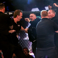 More controversy as Conor McGregor jumps cage and shoves referee at Dublin MMA event