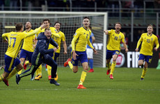 Sweden's ecstatic players gatecrash their TV pundits' analysis