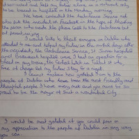 An English tourist sent the Mayor of Dublin a lovely letter thanking people in the city for their help during an emergency