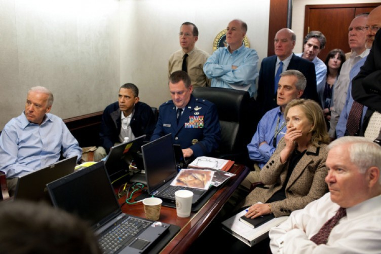 The now-famous picture of Barack Obama and others in the White House situation room, watching details of the raid that caught and killed Osama bin Laden.