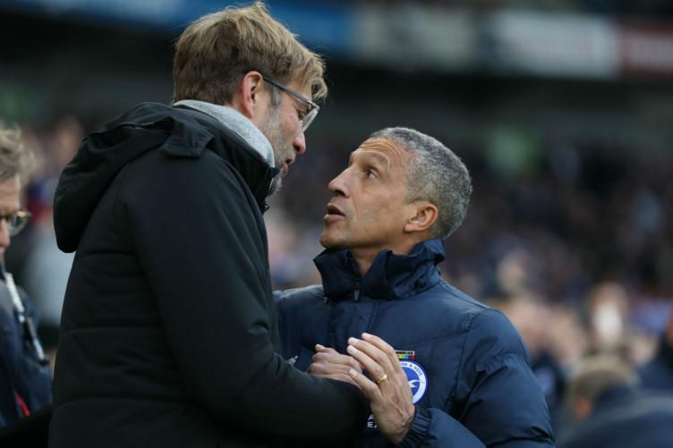 Liverpool manager Jurgen Klopp with Brighton counterpart Chris Hughton