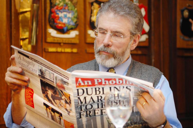 Sinn Fein leader Gerry Adams at the launch of a Dublin special limited edition of An Phoblacht