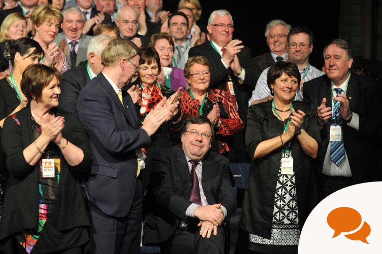 Brian Cowen receives a standing ovation at last night's event