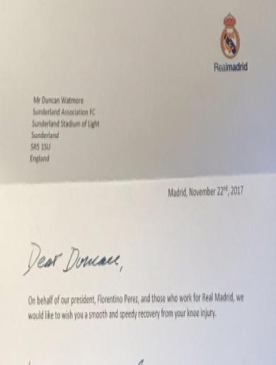 Real Madrid send Sunderland winger Duncan Watmore a surprise letter after latest nightmare